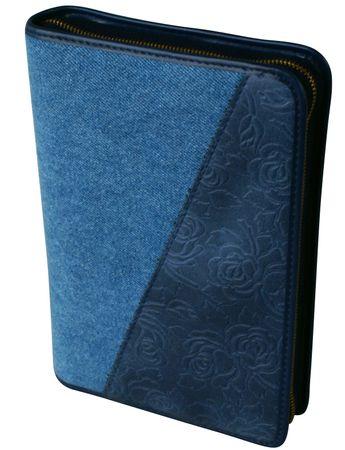 Gotteslobhülle Blaue Blüten Großdruck Stoff / Leder