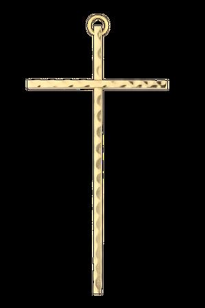 Stabkreuz Messing gehämmert 35 Wandkreuz