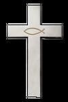Wandkreuz Ichthys Fisch Edelstahl schlicht mattiert Kreuz Kruzifix – Bild 1