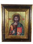 Ikone Christus Pantokrator 18 x 22 cm Griechenland Leinwand Holzrahmen – Bild 1