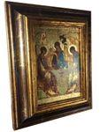 Ikone Heilige Dreifaltigkeit 18 x 22 cm Griechenland Leinwand Holzrahmen  – Bild 3