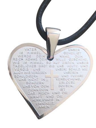 Vater Unser Gebet Herz Anhänger Edelstahl Lederband