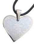Vater Unser Gebet Herz Anhänger 3 cm Edelstahl Lederband Religiöser Schmuck – Bild 1