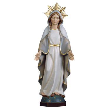 Madonna Gnadenspenderin modern mit Heiligenschein Holz