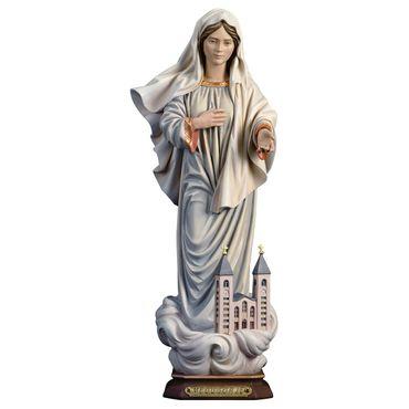 Madonna Medjugorje mit Kirche Holzfigur geschnitzt