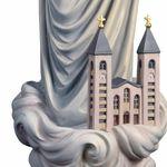 Madonna Medjugorje mit Kirche Holzfigur geschnitzt Südtirol Marienfigur – Bild 3