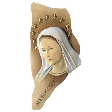 Wandbild Madonna Medjugorje mit Heiligenschein Holz