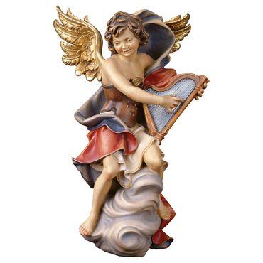 Wolkenengel mit Harfe Holzfigur geschnitzt Südtirol