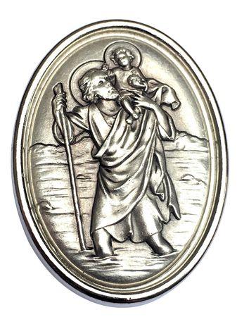 Autoplakette Christophorus mit Jesukind Oval 3,7 cm