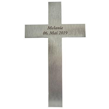 Kreuz mit Namen Edelstahl mattiert 20 cm Wandkreuz