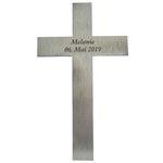 Kreuz mit Namen Edelstahl mattiert 20 cm Wandkreuz 001