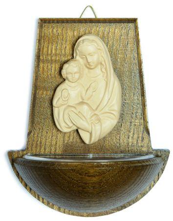 Weihwasserkessel Maria mit Jesukind Eiche dunkel 11 cm