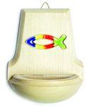 Weihwasserkessel Fisch Glas bunt Regenbogenfarben 11 cm Holz Weihbecken  – Bild 1