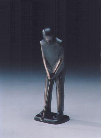 Bronzeskulptur Golfspieler puttend 19 cm