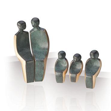 Bronzeskulptur Familie 5 teilig 15 cm Bronze Figur