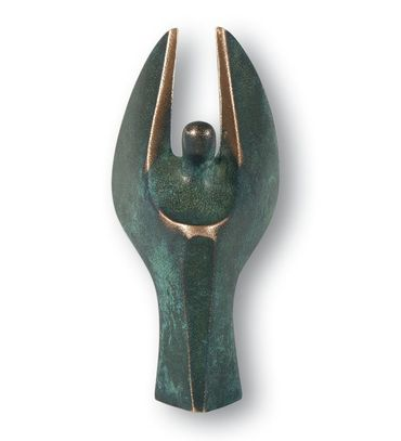 Engelfigur Mini-Engel Bronze 7 cm, patiniert