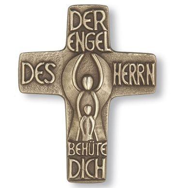 Taufkreuz Schutzengel 13 cm Bronze Wandkreuz