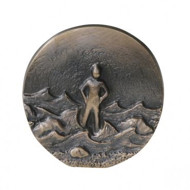 Wandrelief Ein Fels in der Brandung, Impulse 8 cm Bronze