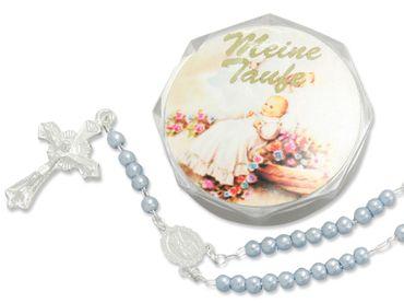 Tauf-Rosenkranz 15 cm blaue Perle im Etui (Jungen)