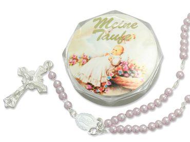 Tauf-Rosenkranz 15 cm rosa Perlen mit Etui (Mädchen)