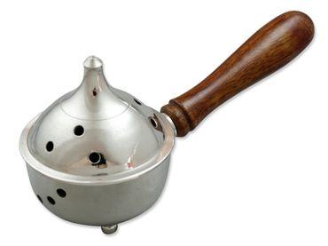 Weihrauch Pfanne Messing Nickel mit Holzgriff 16 cm