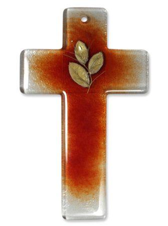 Taufgeschenk Glaskreuz rot mit Goldblatt 20 cm