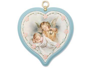 Schutzengelbild Baby mit Engel, blau 9 cm