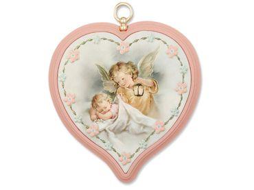 Schutzengelbild Baby mit Engel, rosa 9 cm