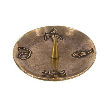 Kerzenständer 4 christliche Symbole Bronze 13 cm