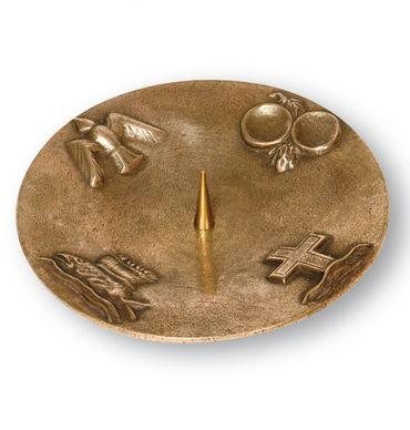 Kerzenständer 4 christliche Symbole Bronze 20 cm