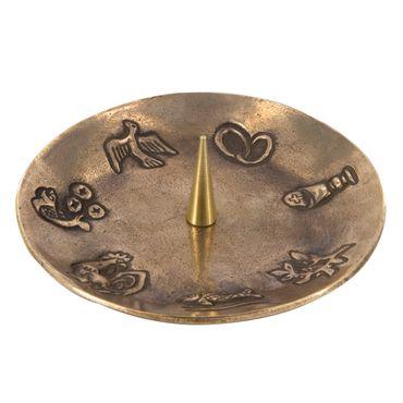 Kerzenhalter 7 christliche Symbole Bronze Ø 14 cm