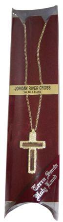 Kreuz Anhänger Jordan-Wasser Erde 24 Kt vergoldet
