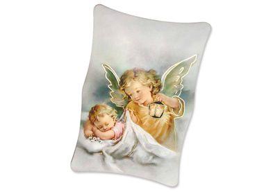 Schutzengelbild Baby mit Engel 11 x 7 cm