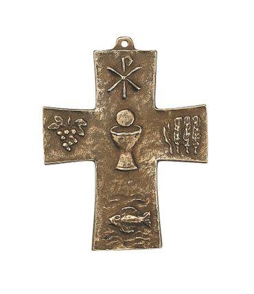 Kommunion Symbol-Kreuz 10 cm Bronze Wandkreuz