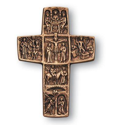 Wandkreuz Stationen aus dem Leben Jesu 26 cm Bronze