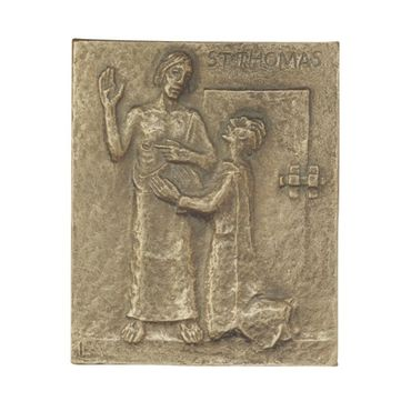 Thomas Namenspatron-Bronzerelief, massiv (13 cm)