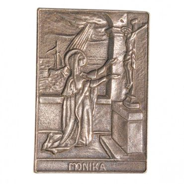 Monika Namenspatron-Bronzerelief (8 cm)