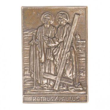 Petrus und Paulus Namenspatron-Bronzerelief (8 cm)