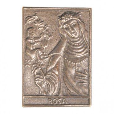 Rosa Namenspatron-Bronzerelief (8 cm)