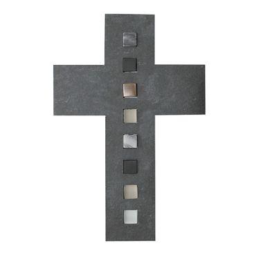 Wandkreuz Schiefer Glas Stein 26 cm Kreuz
