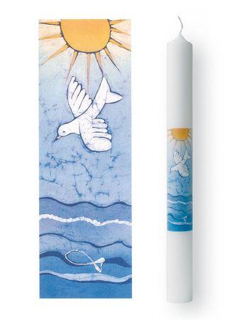 Taufkerze Sonne Wellen Taube Fisch 40 cm