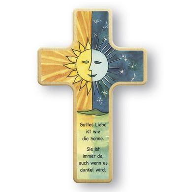 Kreuz für Kinder Sonne Mond 18 cm Holz-Kreuz