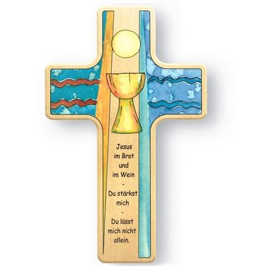 Kommunion Kreuz für Kinder Abendmahl 18 cm Holz-Kreuz