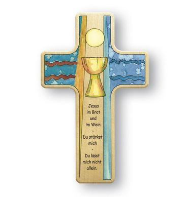 Kreuz für Kinder Kelch Abendmahl 11 cm Holz-Kreuz