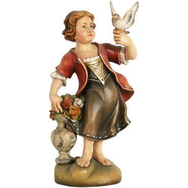 Mädchen mit Taube Holzfigur geschnitzt handbemalt