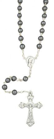 Rosenkranz mit Hämatit-Perlen 6 mm, 47 cm