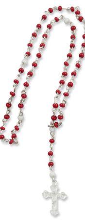 Rosenkranz Baby weiß-rot 18 cm Taufschmuck Mädchen