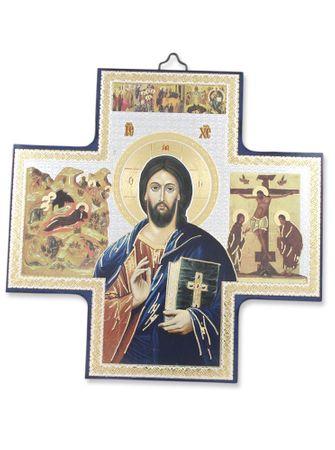 Holzkreuz Pantokrator 15 cm Ikonen-Motiv