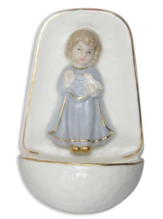 Weihwasserkessel Porzellan Engel blau 10 cm