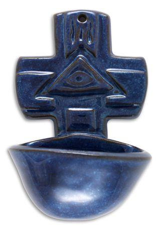 Weihwasserkessel blau 15 cm Keramik Weihwasserbecken